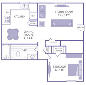 "1 bed 1 bath floor plan, walk-in closet, linen closet, bedroom 11' x 15', living room 15' x 14' 8"", dining room 8' x 6' 8"",broom closet and additional closet"