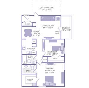"2 bed 2 bath floor plan, master bedroom 12' 5"" x 14' 5"", bedroom 11' 11"" x 11' 11"", walk in closet, 2 closets, living room 14' 4"", dining room 6' 7"" x 8' 7"", balcony 4' 6"" x 15' 3"""