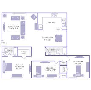 """3 bed 2 bath floor plan, kitchen, dining area 8' x 6' 8"""", broom closet, living room 15' 4"""" x 14' 8"""", master bedroom 12' x 15', bedroom 10' 8"""" x 11' 4"""", bedroom 10' x 15', walk-in closet, 2 closets, 1 linen closet"""